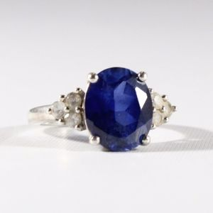 Sterling 5ct Oval-Cut Sapphire Cocktail Ring 7.25
